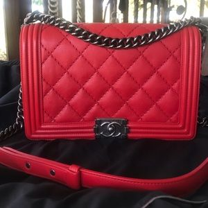 Authentic Pre-Owned CHANEL Boy   Medium Red